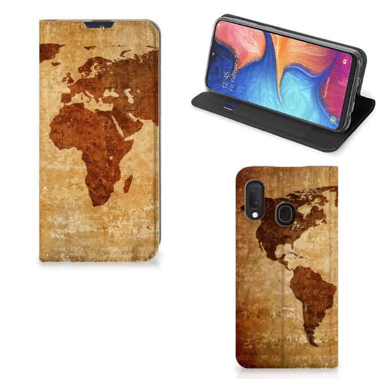 Samsung Galaxy A20e Book Cover Wereldkaart