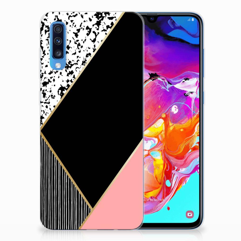 Samsung Galaxy A70 TPU Hoesje Zwart Roze Vormen
