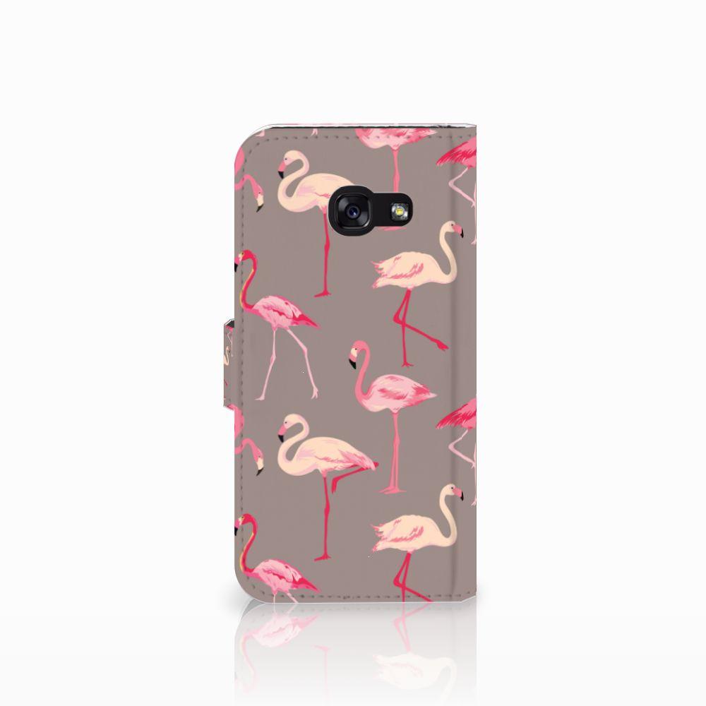 Samsung Galaxy A5 2017 Telefoonhoesje met Pasjes Flamingo