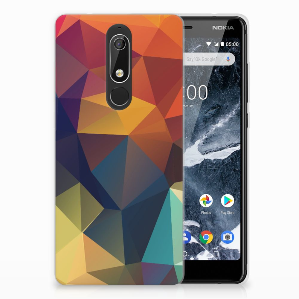 Nokia 5.1 (2018) TPU Hoesje Design Polygon Color
