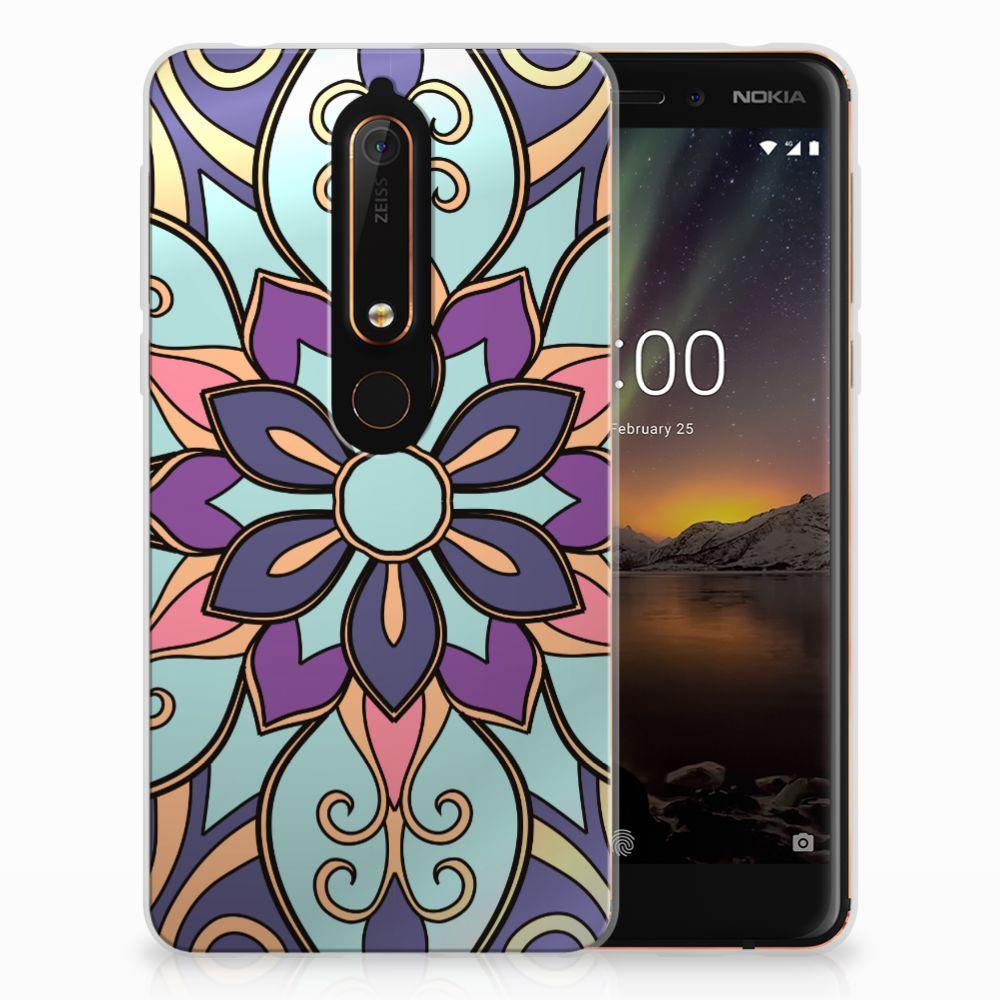 Nokia 6 (2018) TPU Hoesje Design Purple Flower
