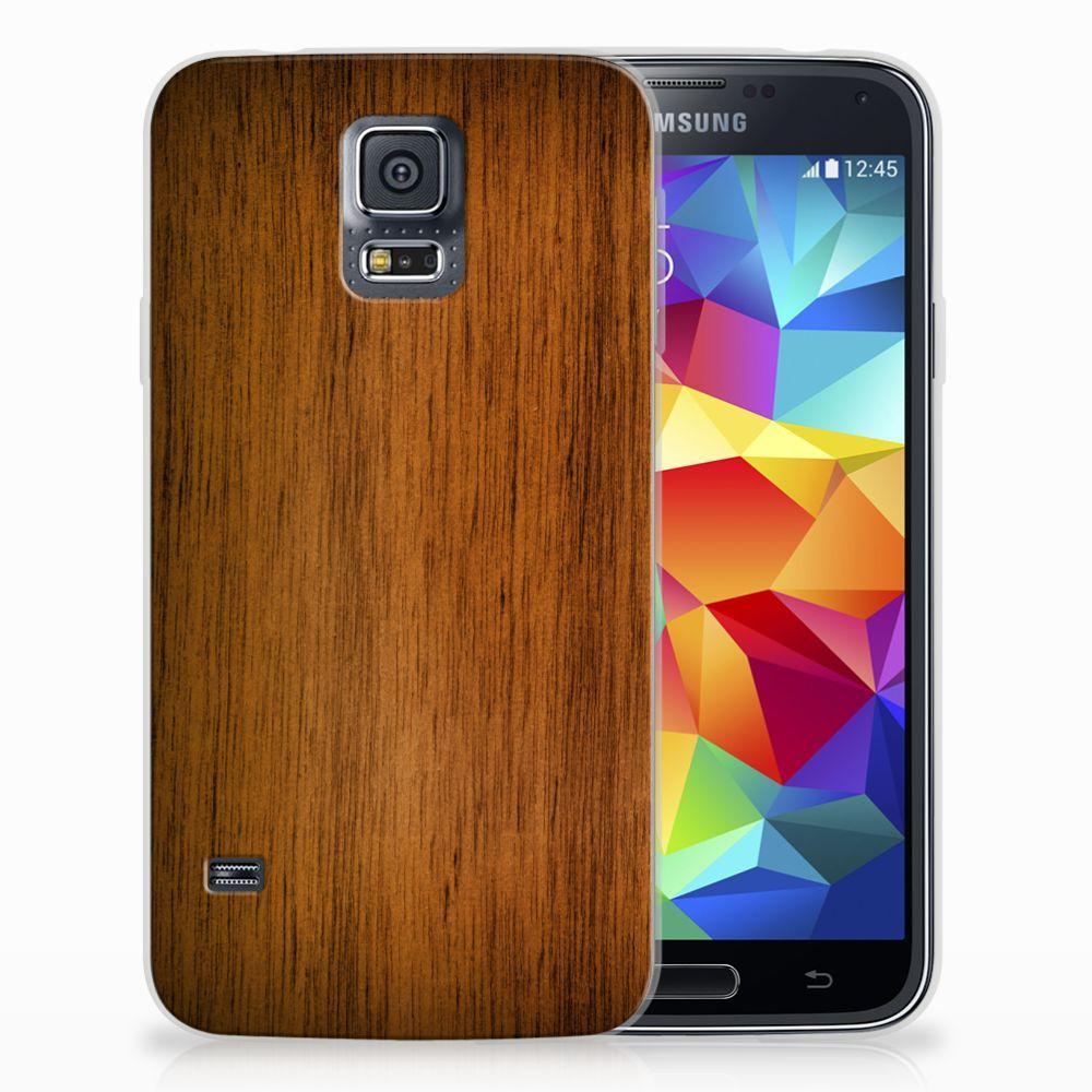 Samsung Galaxy S5 Uniek TPU Hoesje Donker Hout