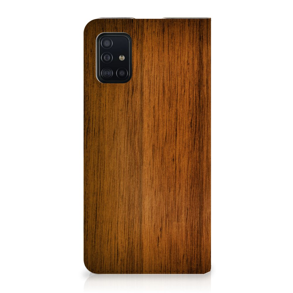 Samsung Galaxy A51 Book Wallet Case Donker Hout