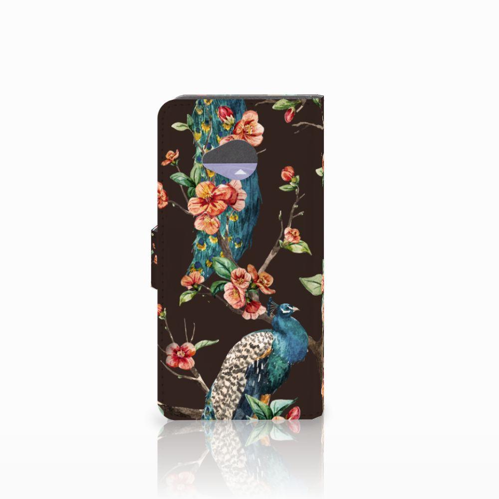 HTC U11 Life Telefoonhoesje met Pasjes Pauw met Bloemen
