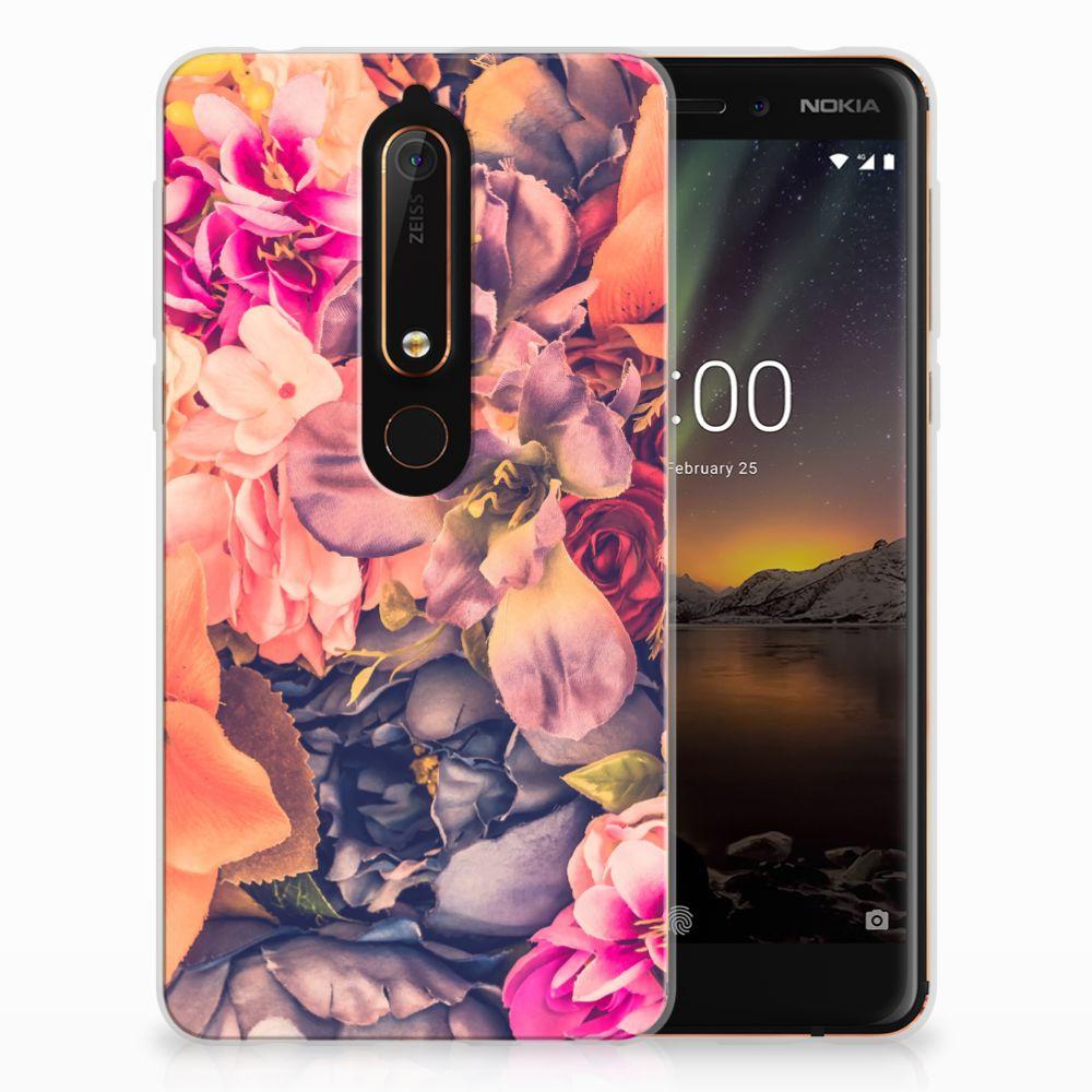 Nokia 6 (2018) TPU Hoesje Design Bosje Bloemen