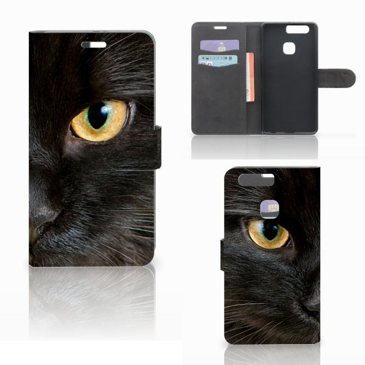 Huawei P9 Plus Telefoonhoesje met Pasjes Zwarte Kat