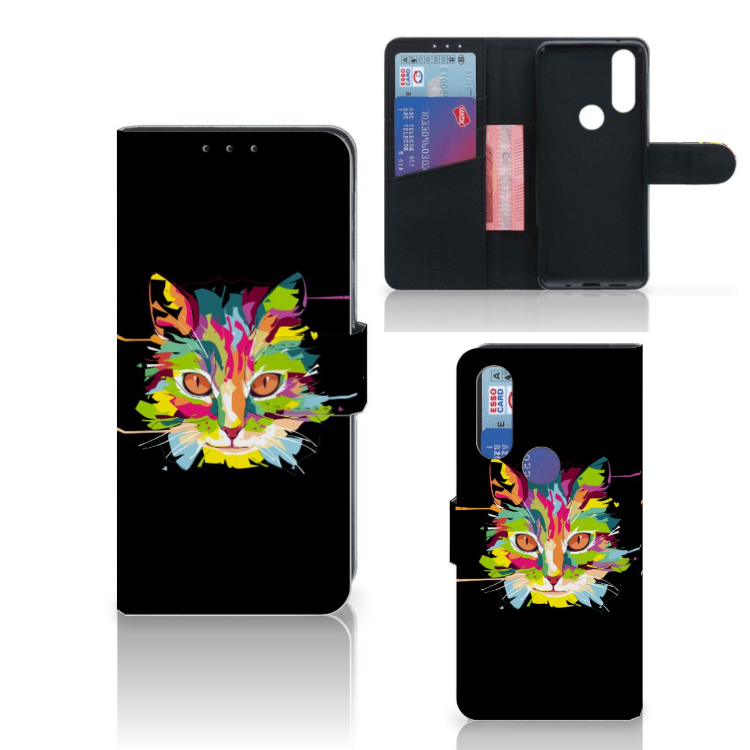Motorola One Action Leuk Hoesje Cat Color