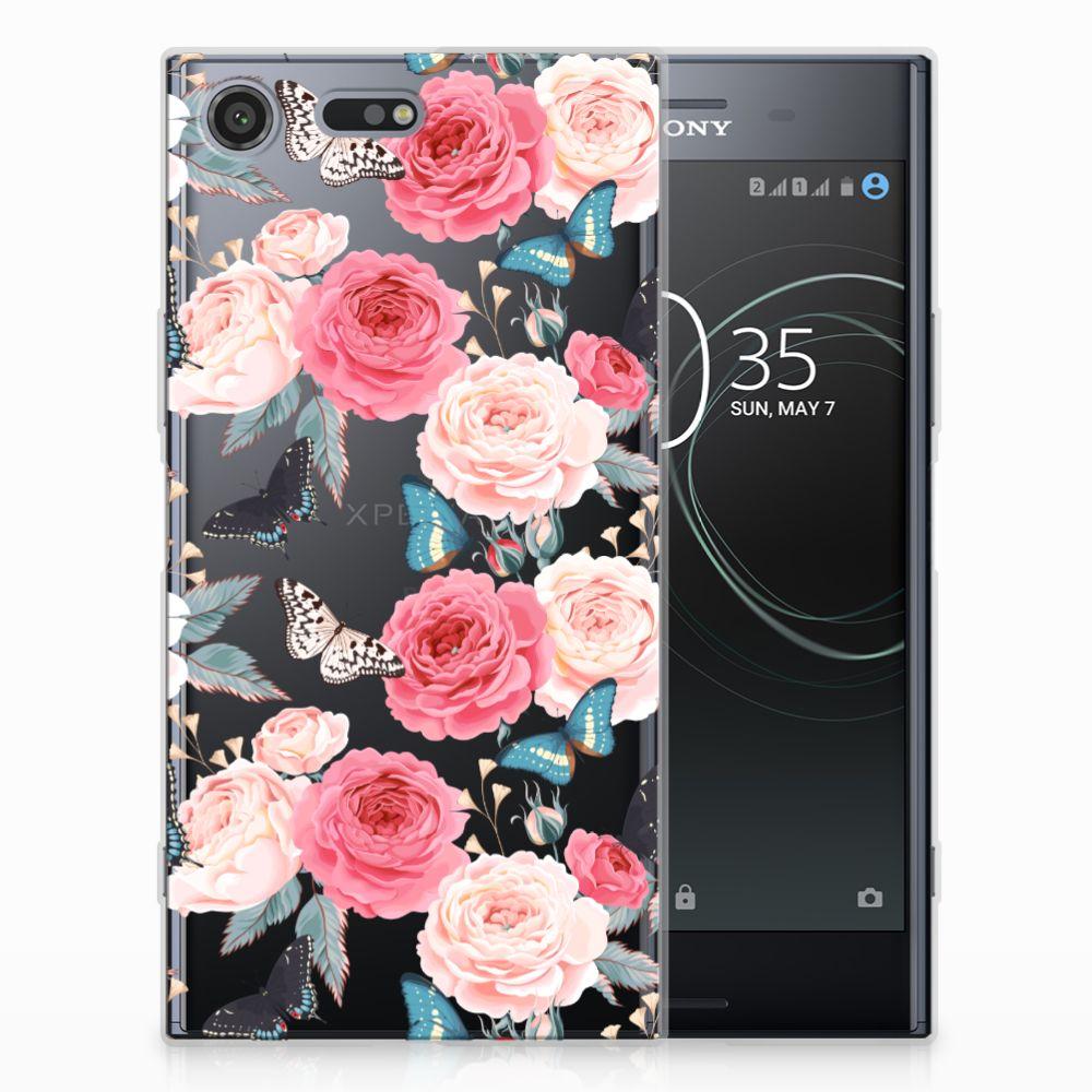 Sony Xperia XZ Premium Uniek TPU Hoesje Butterfly Roses