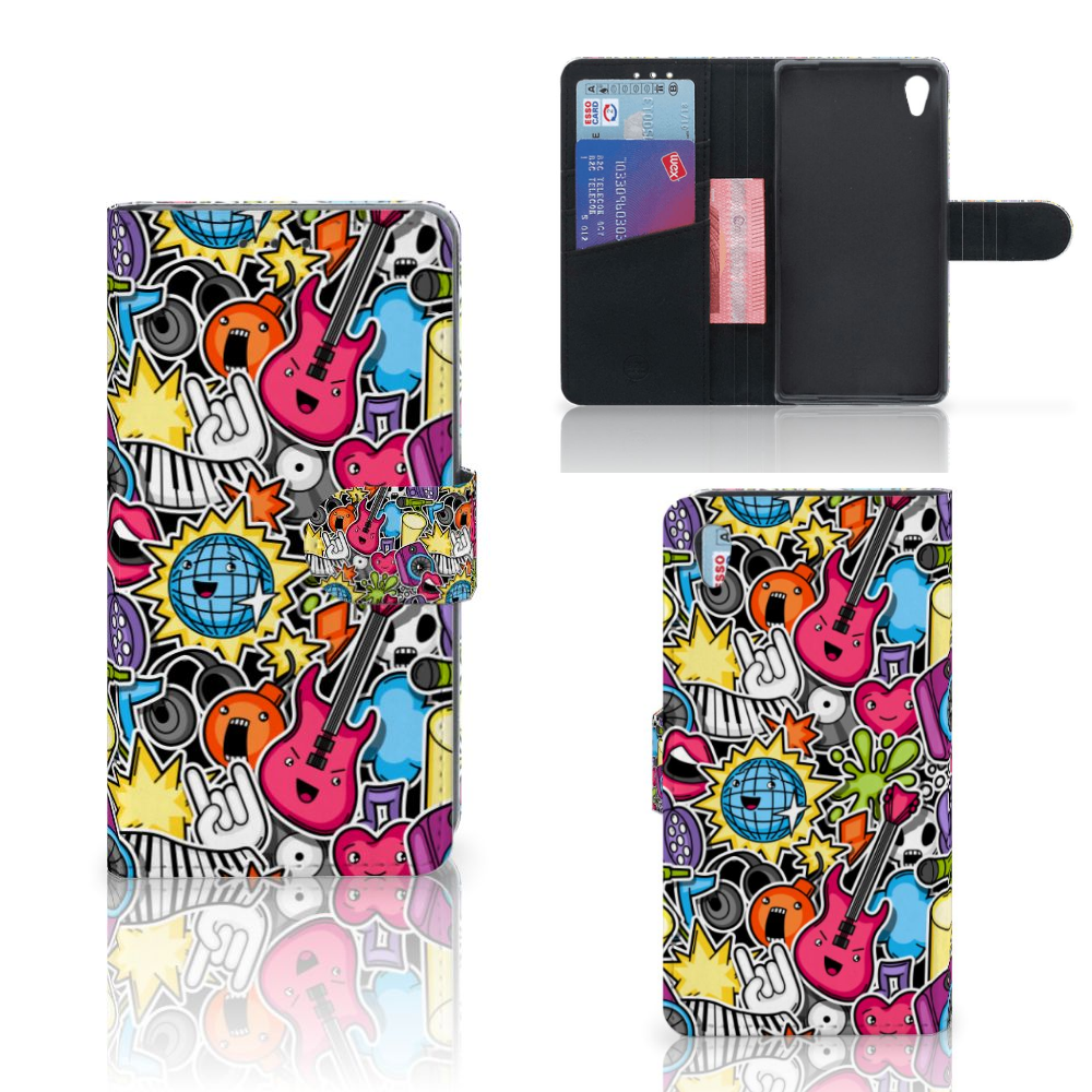 Sony Xperia Z2 Wallet Case met Pasjes Punk Rock
