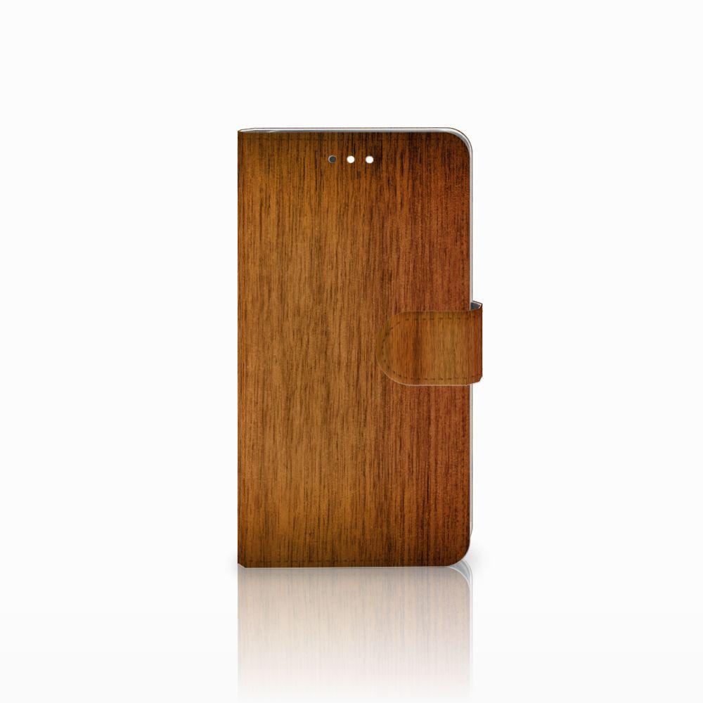 Huawei Ascend G7 Uniek Boekhoesje Donker Hout