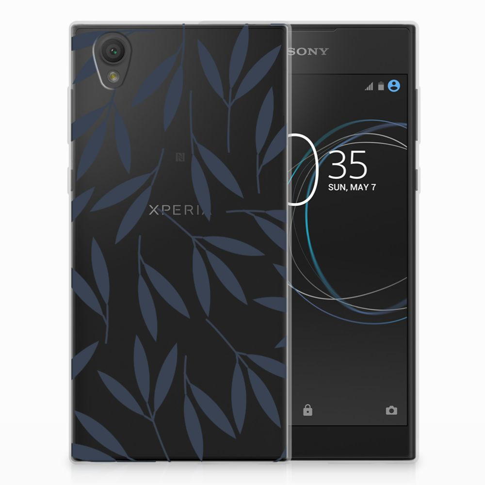 Sony Xperia L1 TPU Hoesje Design Leaves Blue