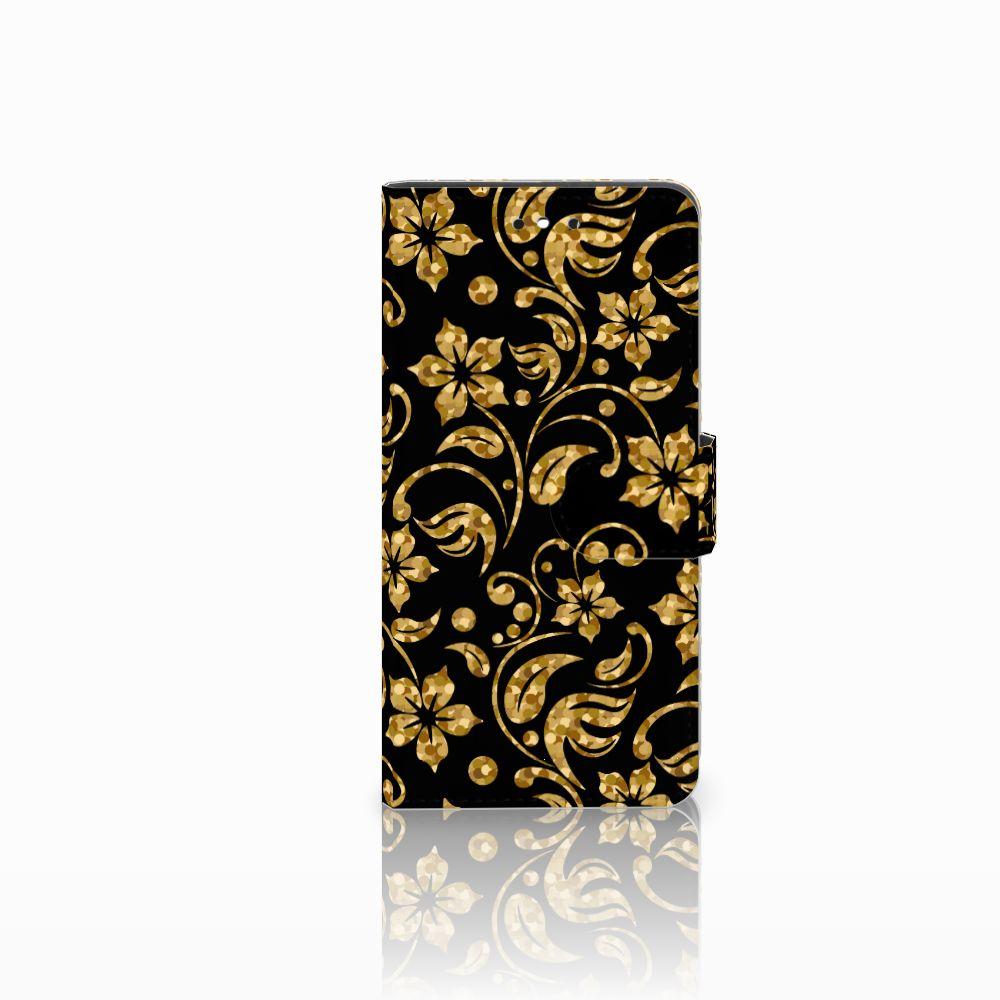 Huawei P8 Lite Smart (GR3) Boekhoesje Design Gouden Bloemen