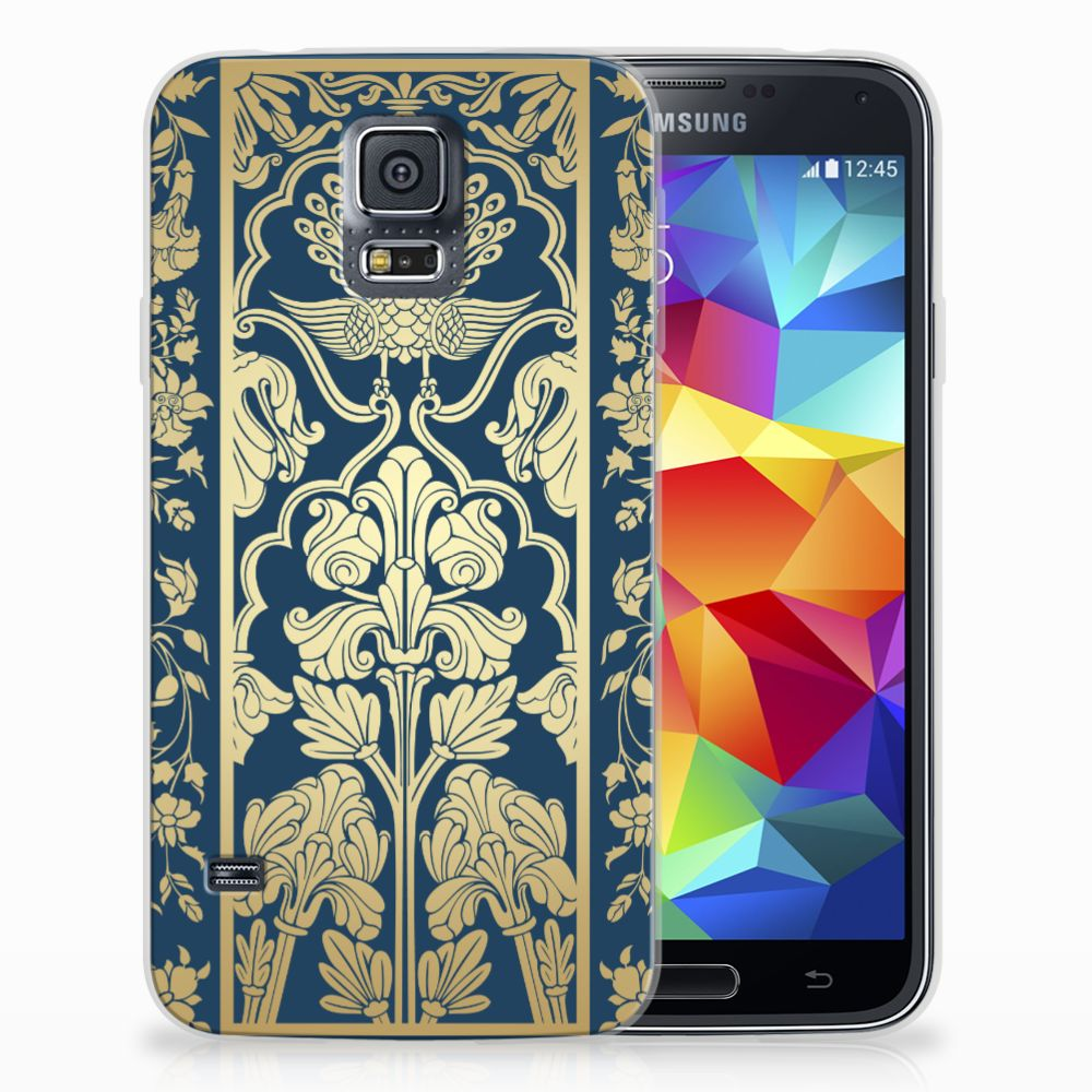 Samsung Galaxy S5 TPU Hoesje Golden Flowers