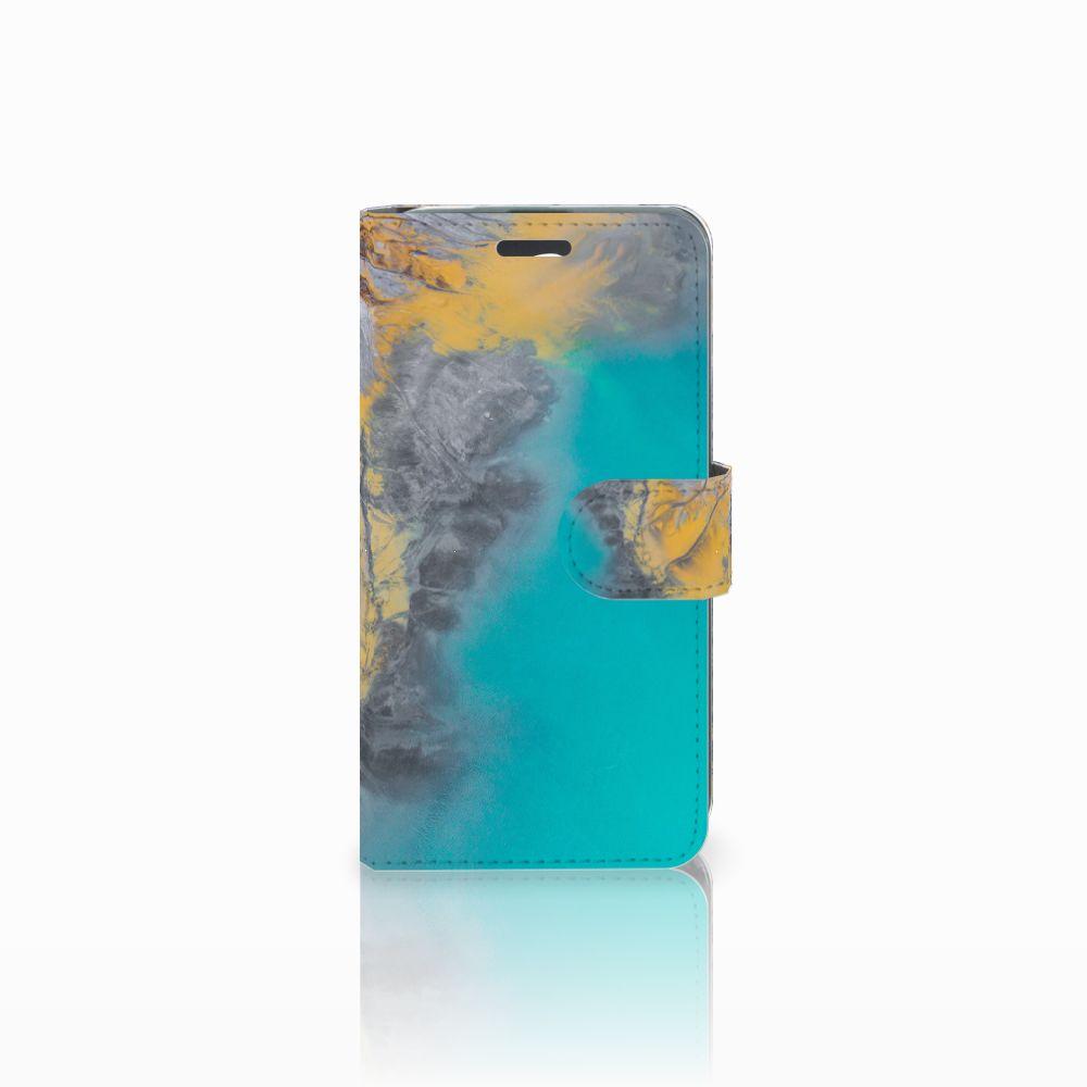 Acer Liquid Z520 Boekhoesje Design Marble Blue Gold