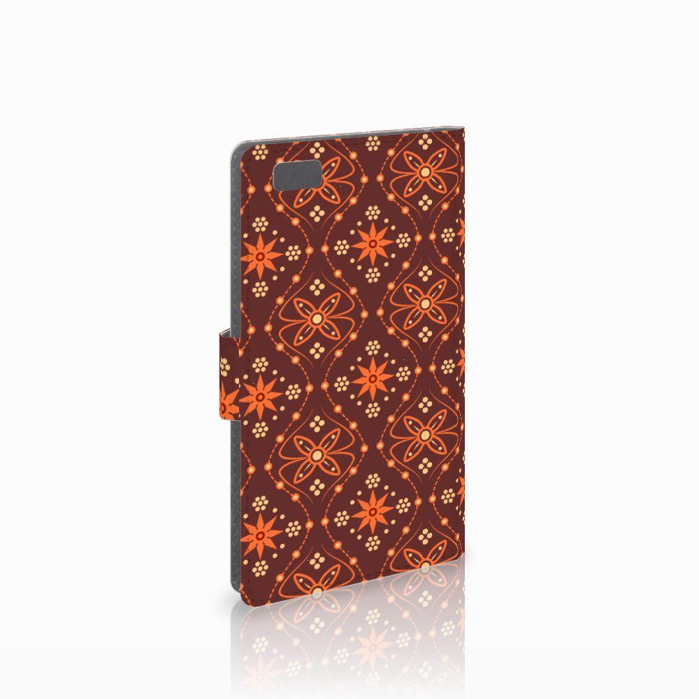 Huawei Ascend P8 Lite Uniek Boekhoesje Batik Brown