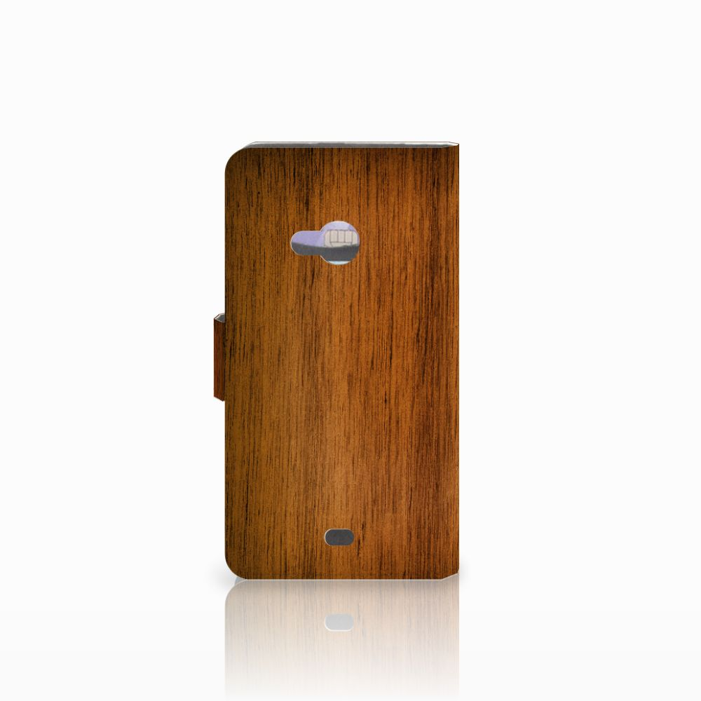 Microsoft Lumia 535 Book Style Case Donker Hout