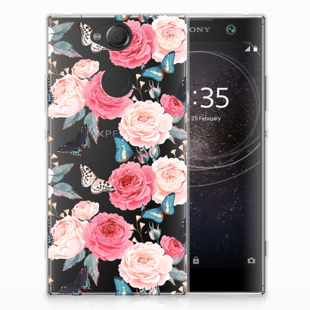 Sony Xperia XA2 Uniek TPU Hoesje Butterfly Roses