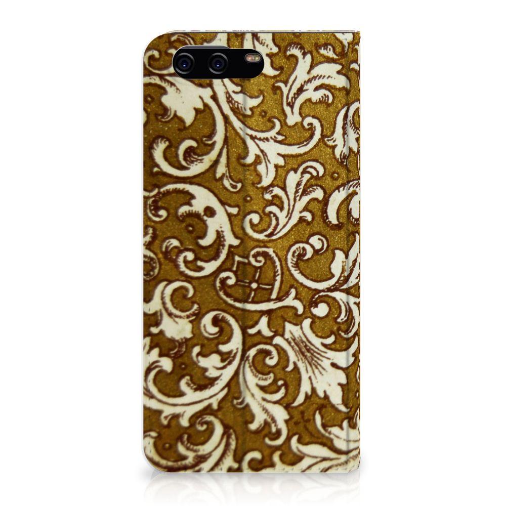 Huawei P10 Standcase Hoesje Design Barok Goud