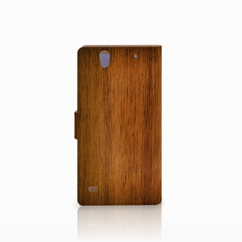 Sony Xperia C4 Book Style Case Donker Hout