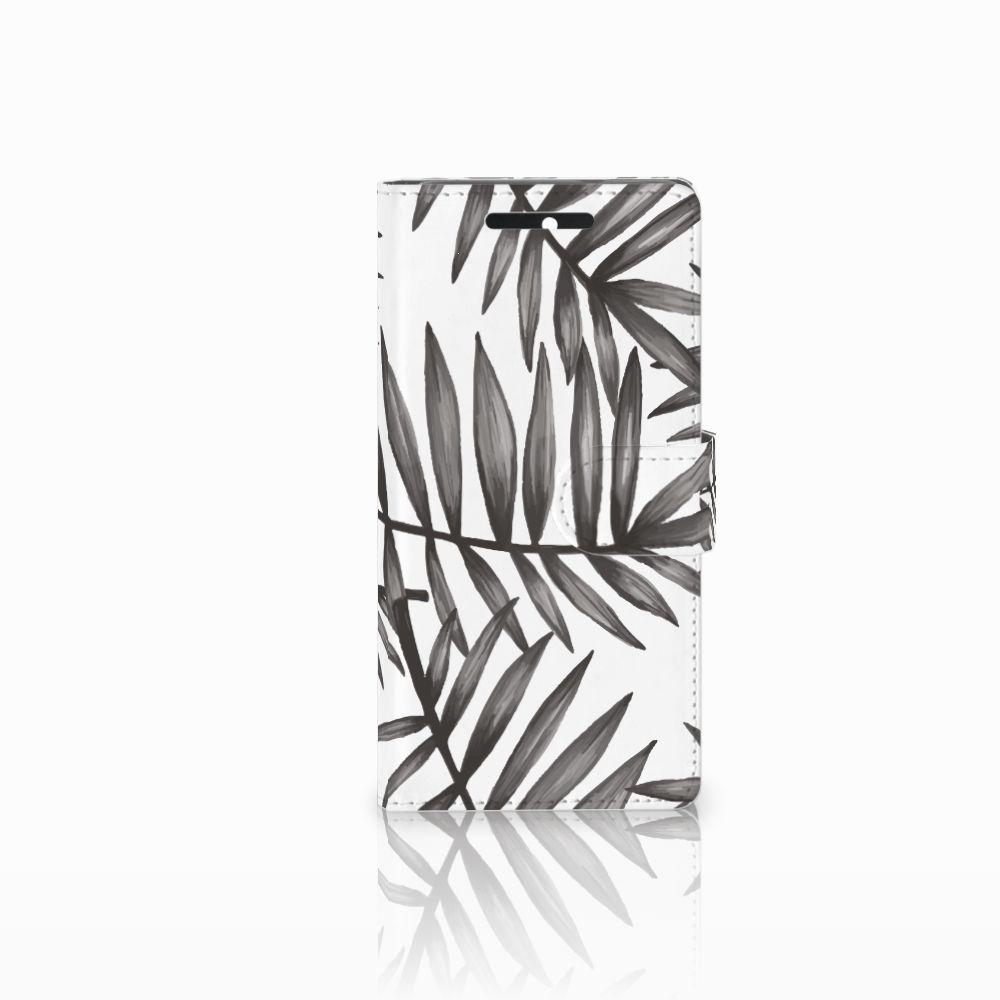 HTC Desire 628 Uniek Boekhoesje Leaves Grey
