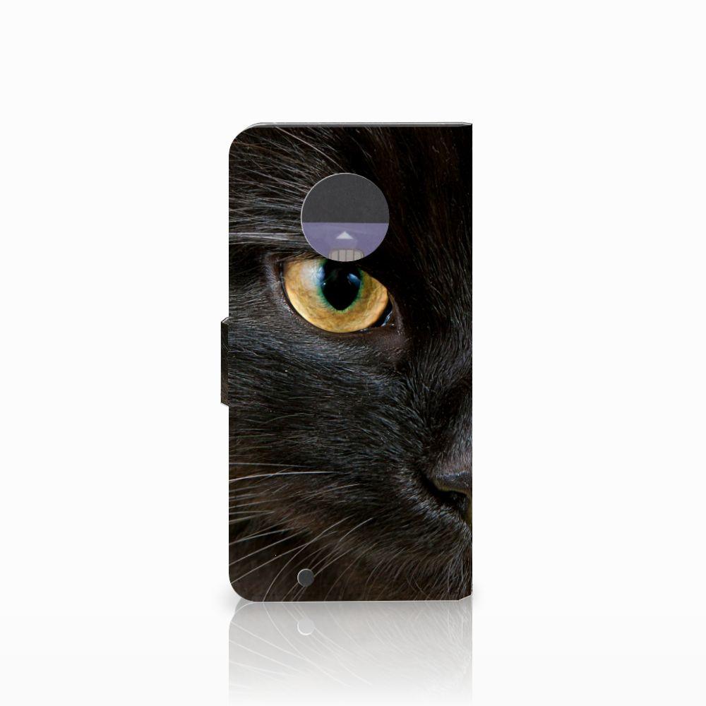 Motorola Moto G6 Telefoonhoesje met Pasjes Zwarte Kat