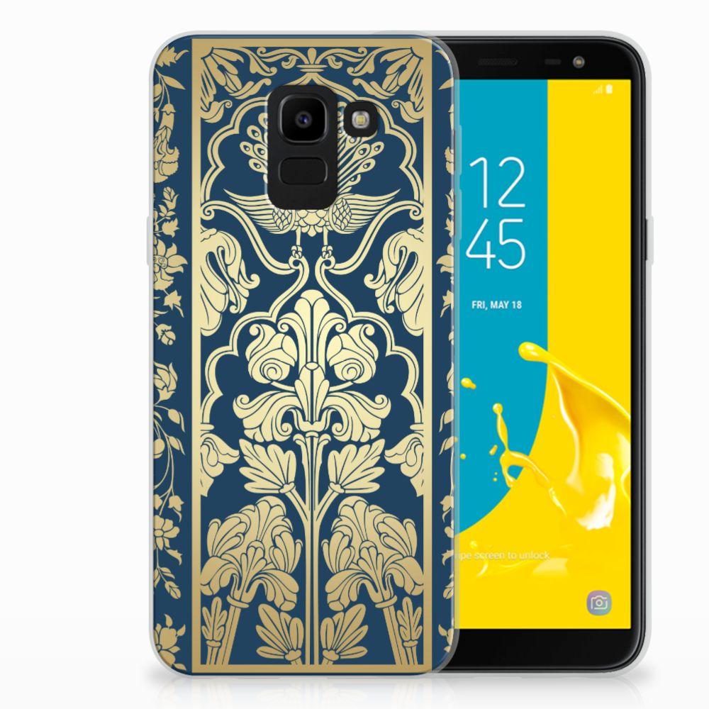 Samsung Galaxy J6 2018 TPU Hoesje Golden Flowers