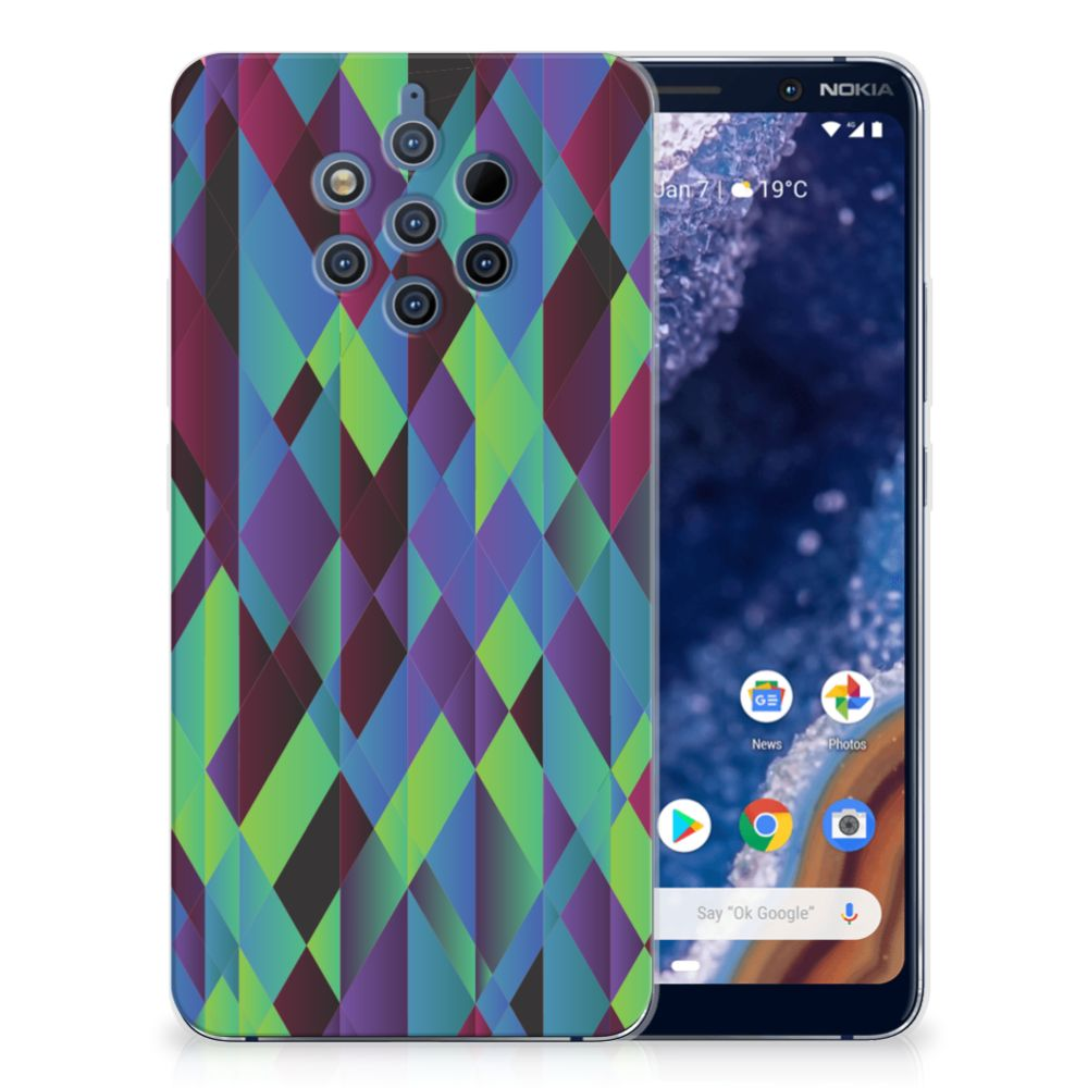 Nokia 9 PureView TPU Hoesje Abstract Green Blue
