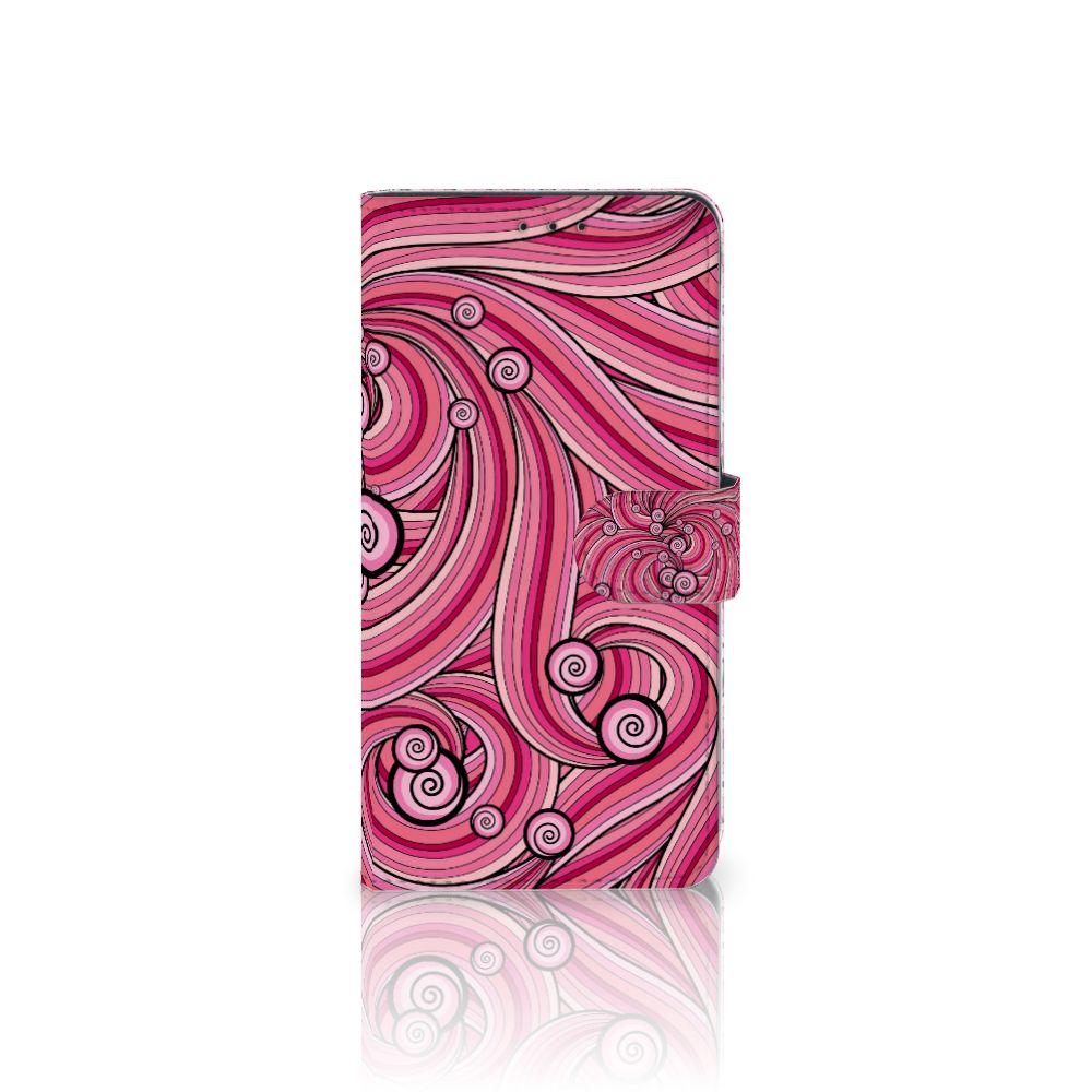 Samsung Galaxy A8 Plus (2018) Uniek Boekhoesje Swirl Pink