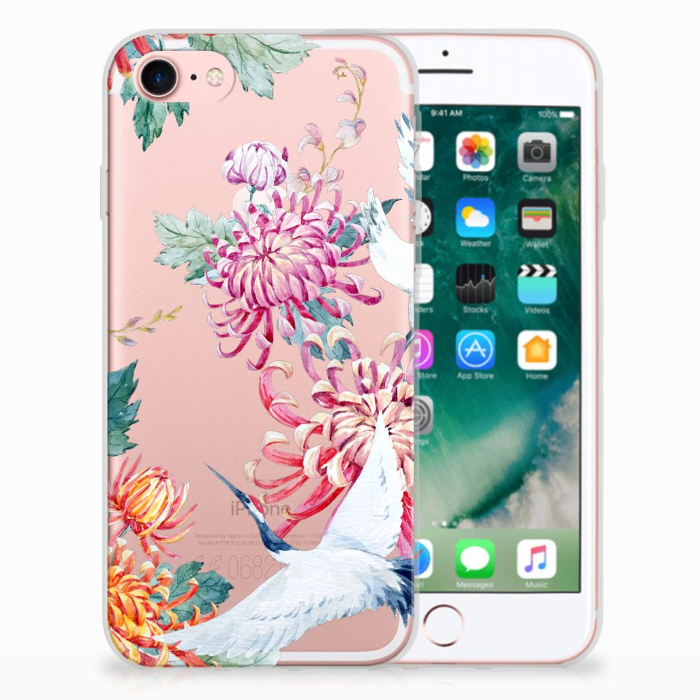 Apple iPhone 7 | 8 Uniek TPU Hoesje Bird Flowers