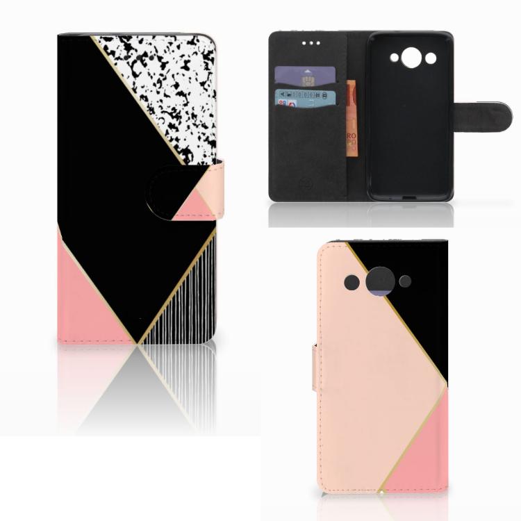 Huawei Y3 2017 Bookcase Zwart Roze Vormen