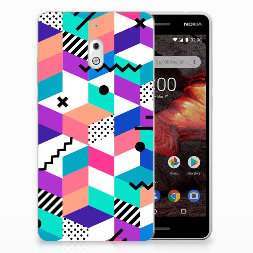 Nokia 2.1 (2018) TPU Hoesje Blokken Kleurrijk