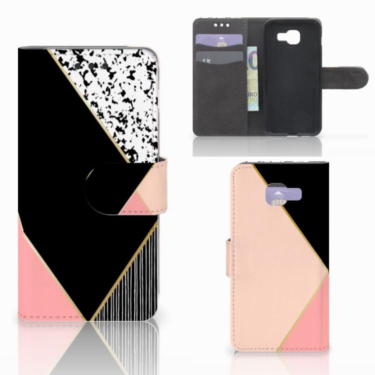 Samsung Galaxy A3 2016 Bookcase Zwart Roze Vormen