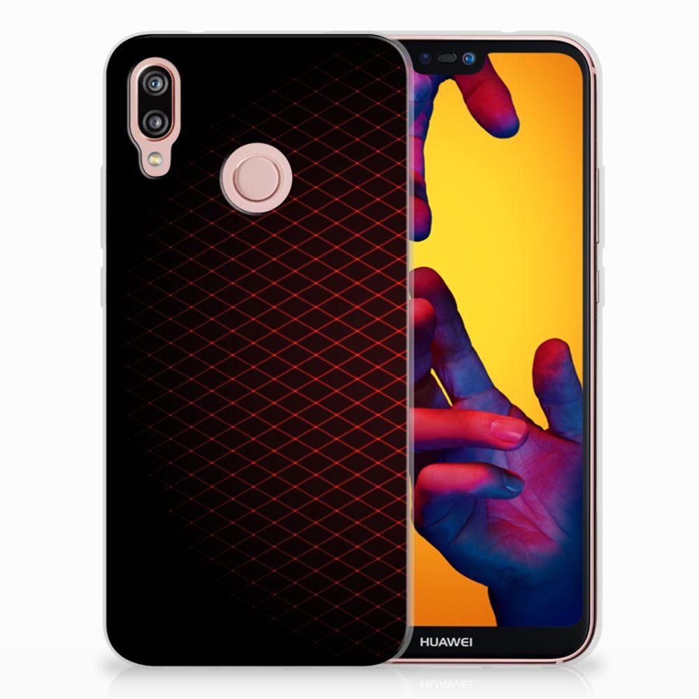 Huawei P20 Lite Uniek TPU Hoesje Geruit Rood