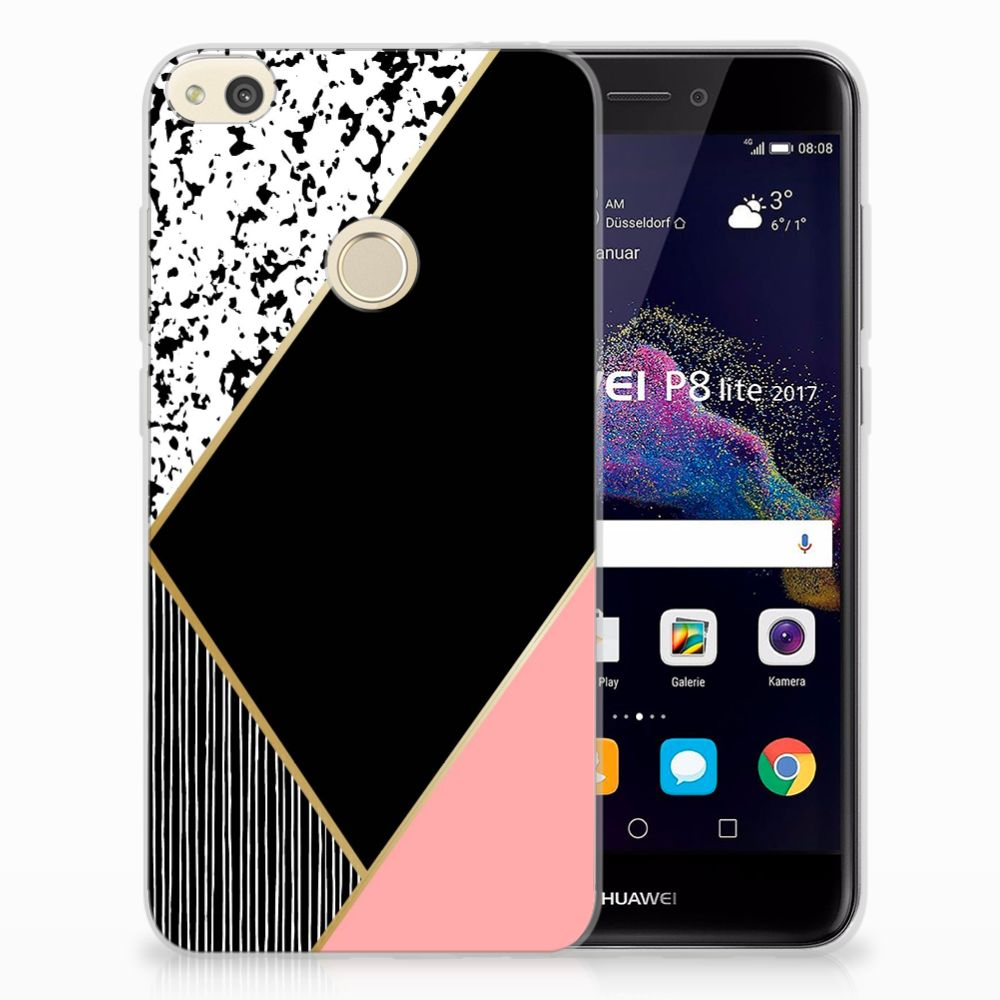 Huawei P8 Lite 2017 Uniek TPU Hoesje Black Pink Shapes