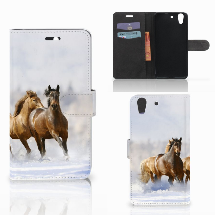 Huawei Y6 II | Honor 5A Telefoonhoesje met Pasjes Paarden