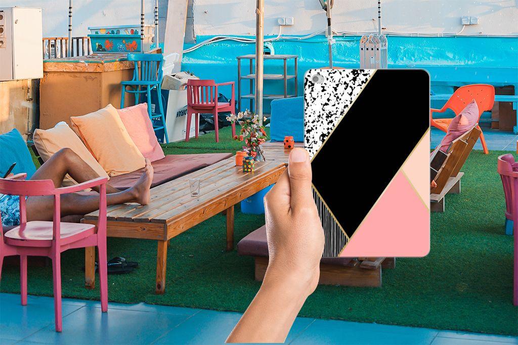 Apple iPad Mini 4 | Mini 5 (2019) Back Cover Zwart Roze Vormen