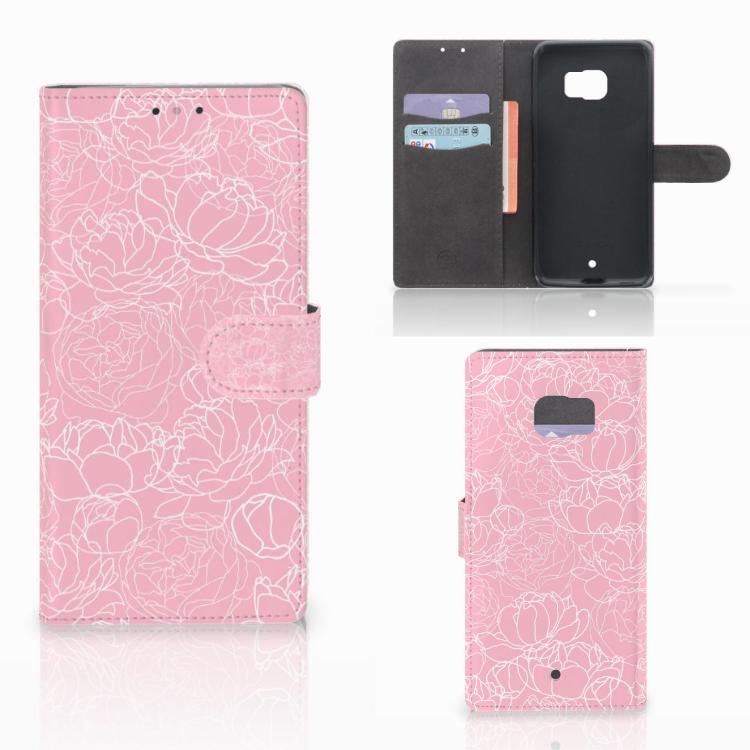 HTC U Ultra Wallet Case White Flowers