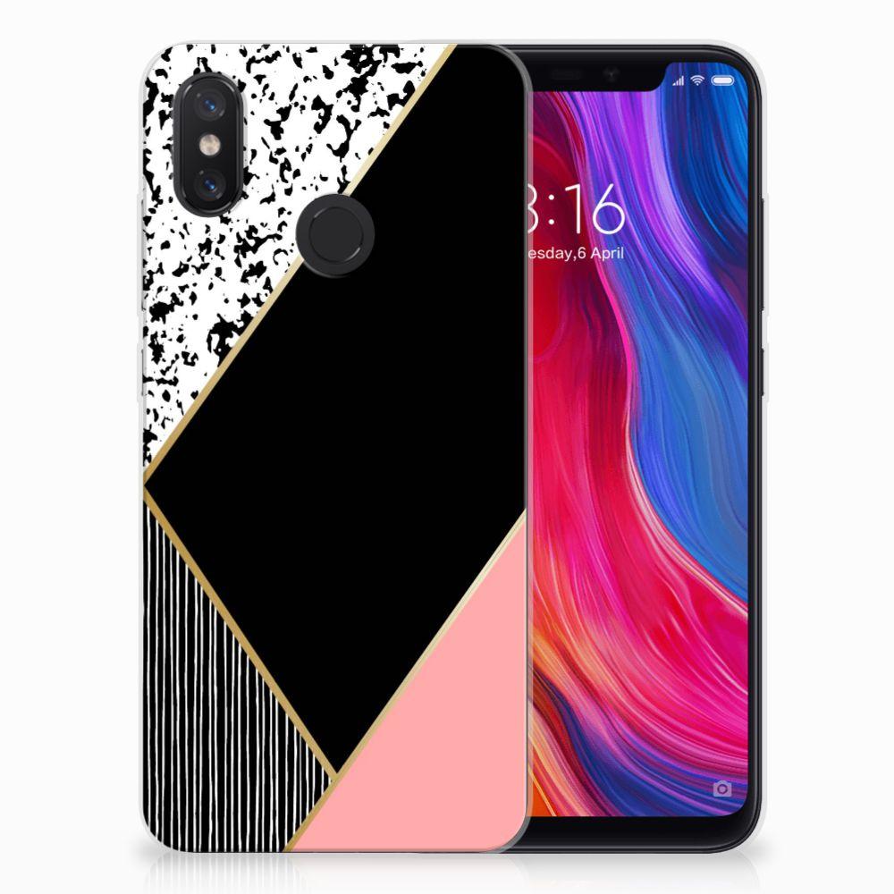 Xiaomi Mi 8 TPU Hoesje Zwart Roze Vormen