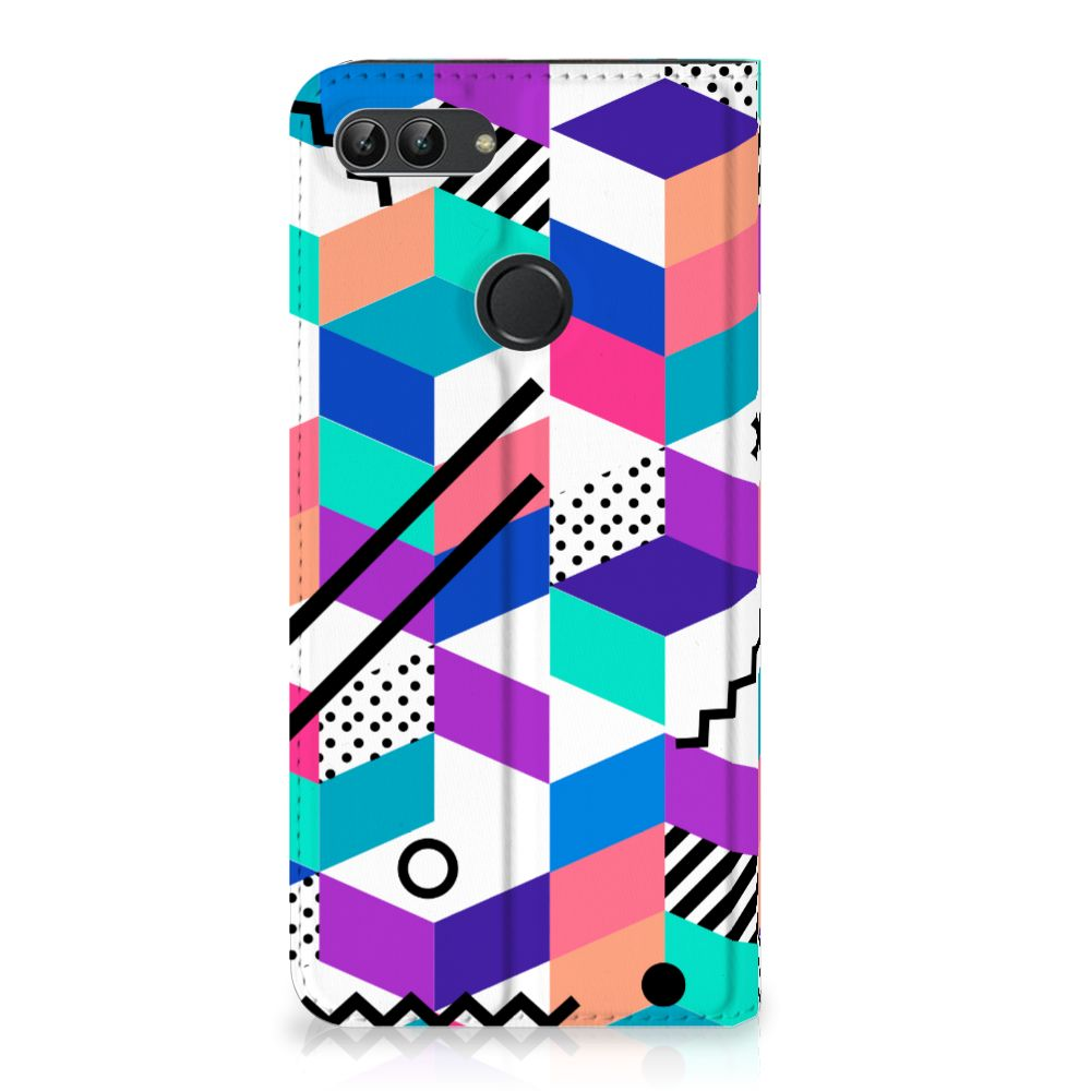 Huawei P Smart Standcase Hoesje Design Blocks Colorful