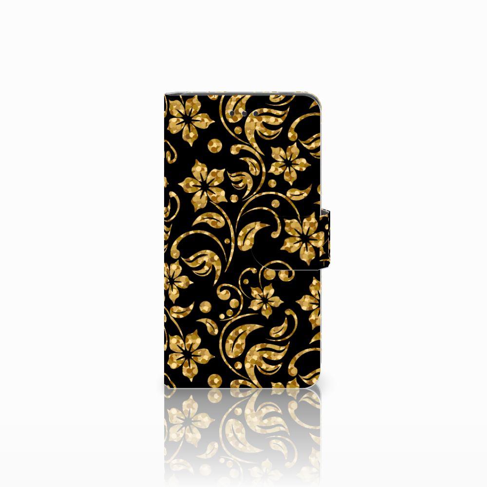 Nokia 7 Boekhoesje Design Gouden Bloemen