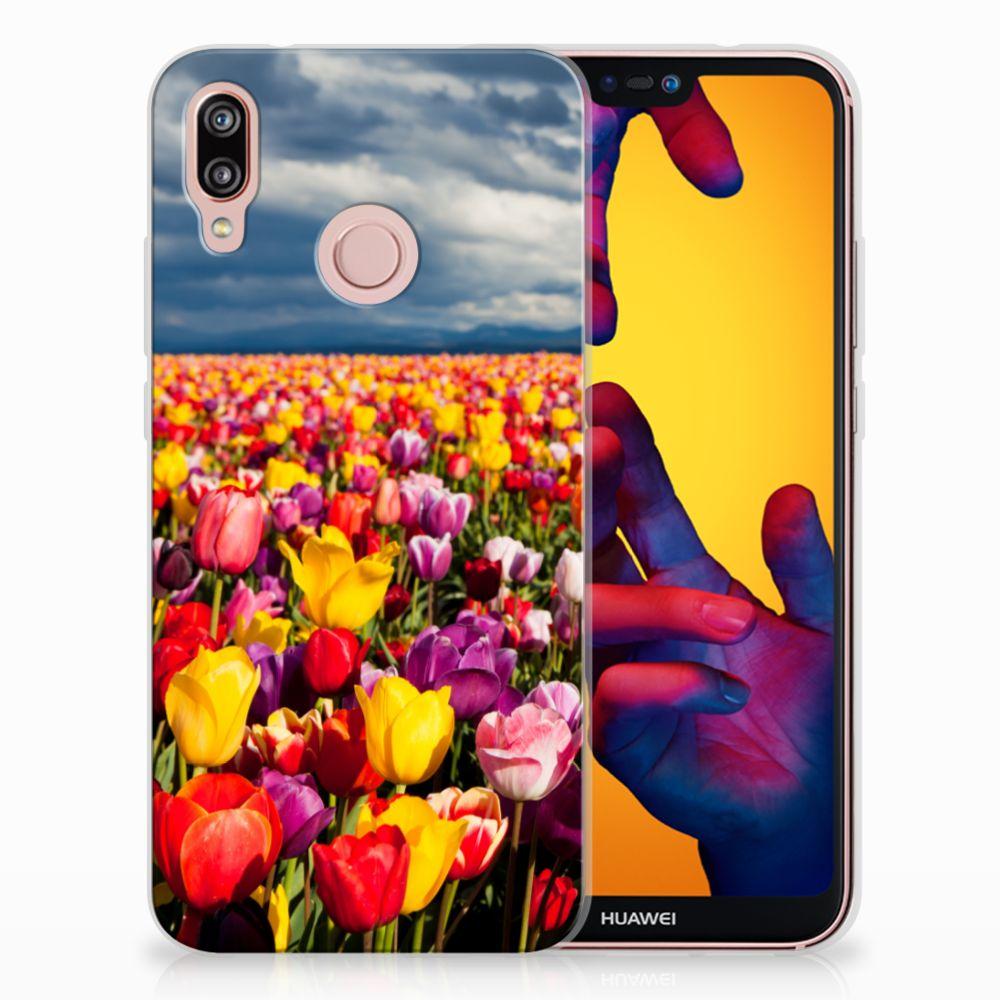 Huawei P20 Lite Uniek TPU Hoesje Tulpen