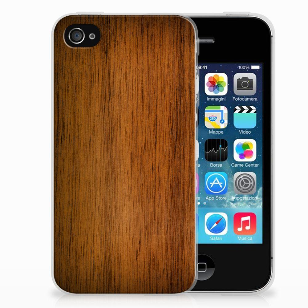 Apple iPhone 4 | 4s Uniek TPU Hoesje Donker Hout