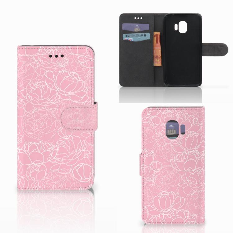 Samsung Galaxy J2 Pro 2018 Wallet Case White Flowers