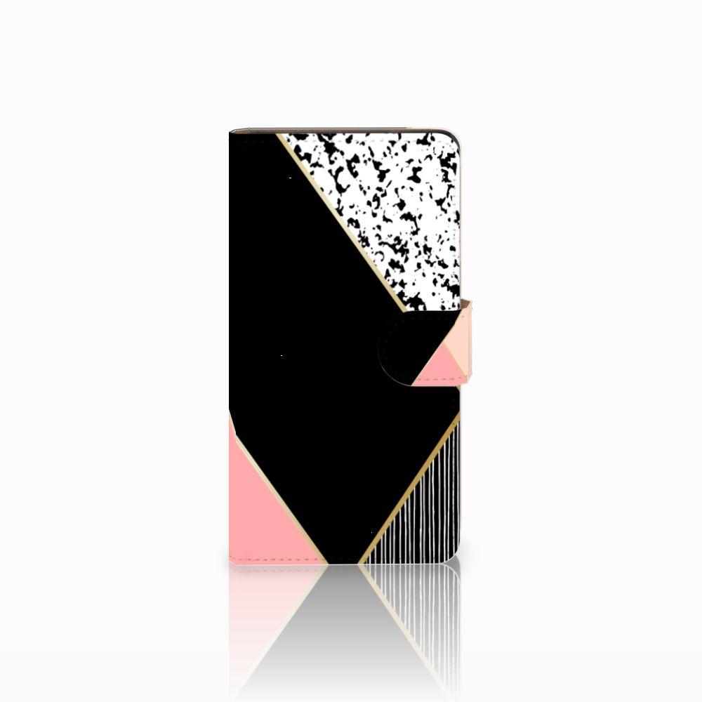 Huawei Ascend G700 Uniek Boekhoesje Black Pink Shapes