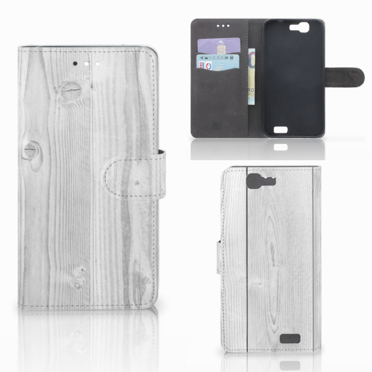 Huawei Ascend G7 Book Style Case White Wood