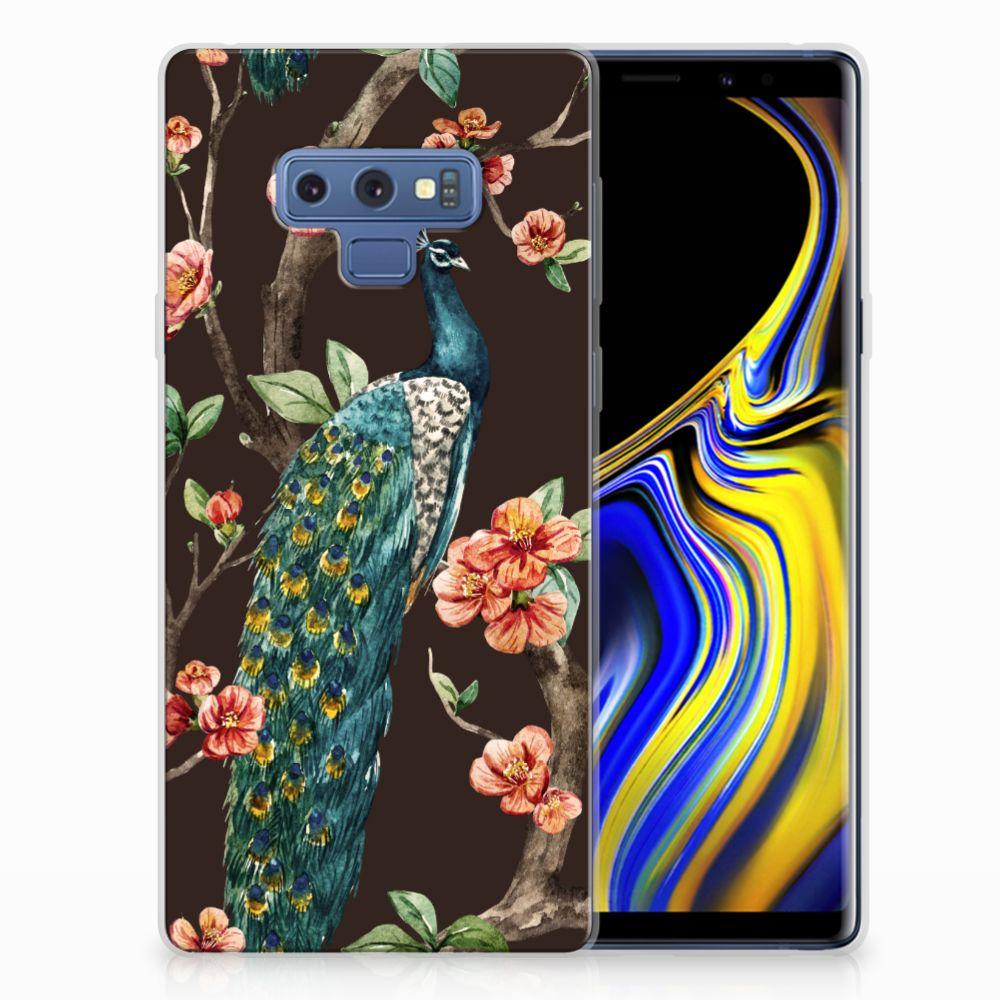 Samsung Galaxy Note 9 TPU Hoesje Pauw met Bloemen