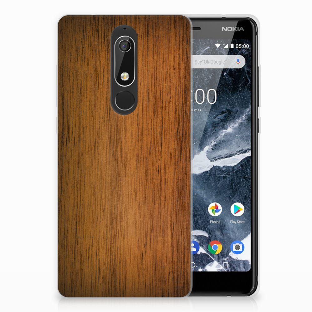 Nokia 5.1 (2018) Uniek TPU Hoesje Donker Hout