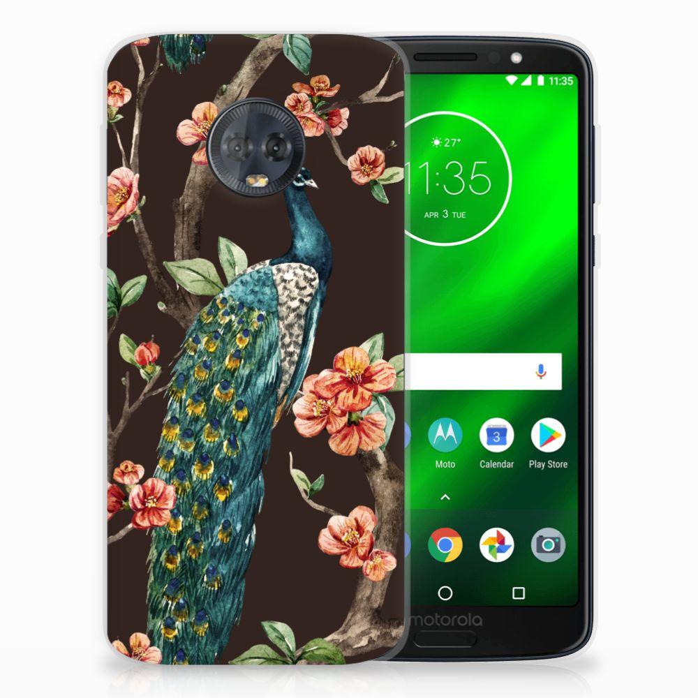 Motorola Moto G6 Plus TPU Hoesje Design Pauw met Bloemen