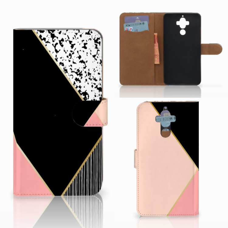 Huawei Mate 9 Bookcase Zwart Roze Vormen