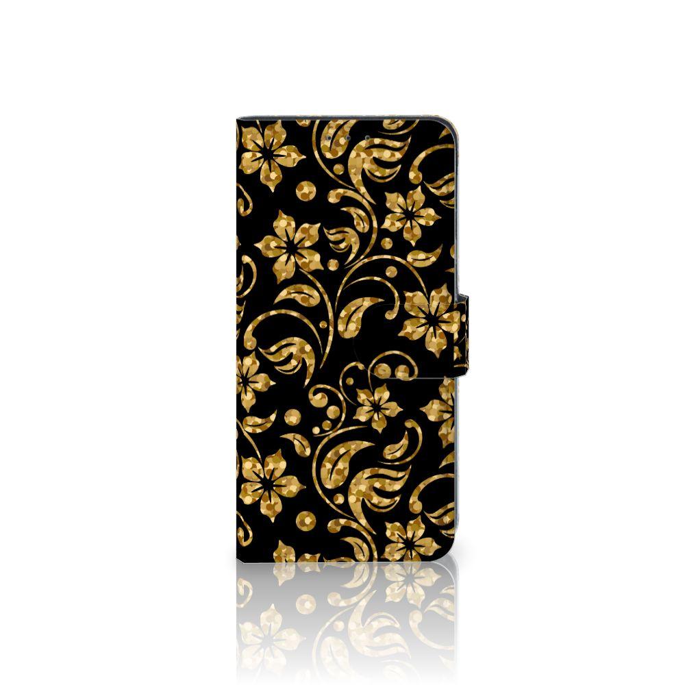 LG V40 Thinq Boekhoesje Design Gouden Bloemen